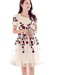 Dheylu Creation Women's Dress (Red Rose White Kurti_Off White_X-Large)