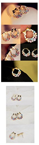 [Free Shipping $10 (mix order) New Fashion Imitation Colorful Rhinestone Bow Earrings E41 Vintage] (Costumes Jewelry Prices)