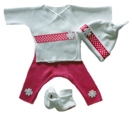 Pink Dots and Daisies Clothing Set (Small Preemie