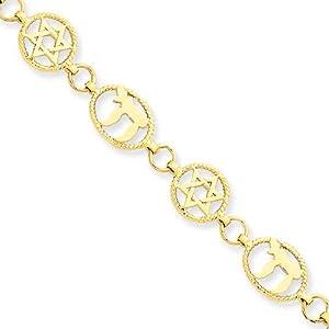 14 Karat Yellow Gold Chai & Star of David Bracelet - 7 Inch