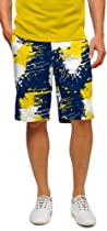 Loudmouth Golf Mens Shorts: Blue & Gold Paint Balls - Size 40