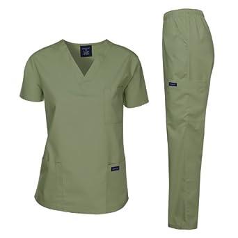 Dagacci Medical Uniform Woman and Man Scrub Set Unisex Medical Scrub Top and Pant, SEAFORM, XS