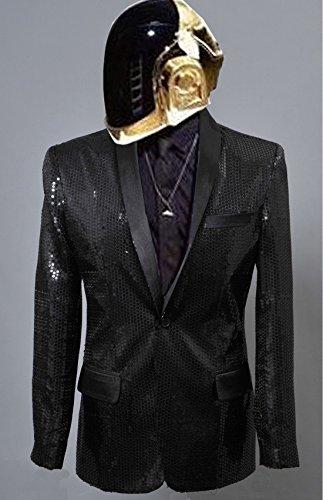 Trust Costume Daft Punk Sparking Black Sequin Performance Jacket (Man-XL, Hero Robot No. 1)