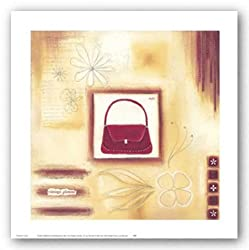 "Red Vintage Purse by Lucy Barnard 10""x10"" Art Print Poster"