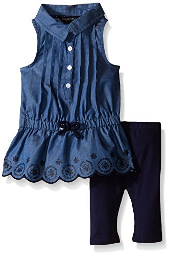 Nautica Baby Chambray Top with Lace Accents/Legging Set, Navy, 6-9 Months