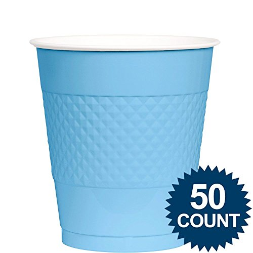 Amscan Big Party Pack 50 Count Plastic Cups, 12-Ounce, Pastel Blue