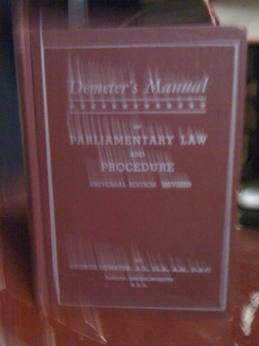 Demeter's Manual of Parliamentary Law and Procedure - Universal Edition Revised (Demeter Press compare prices)