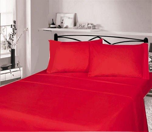 Lino Zone-flanella 100% cotone spazzolato caldo e Cosy, cotone/lino, Plain Red, Single Sheet Set