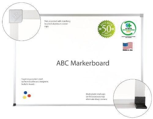 MooreCo inc ABC Porcelain Markerboard, 4 x 10 Inches (2H2NK-25)