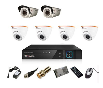 Tentronix T-8ACH-6-D4BA210 8-Channel AHD Dvr, 4(1MP/36IR) Dome, 2(1Mp/36IR) Bullet Cameras (With Accessories)