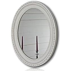 Wandspiegel oval in weiß antik mit Patina 37 x 47cm | Spiegel barock aus Holz | im Landhausstil als Badspiegel | Schminkspiegel bzw. Frisierspiegel für das Landhaus