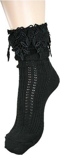 Vintage Look Lace Slouch Socks by Foot Traffic in Black
