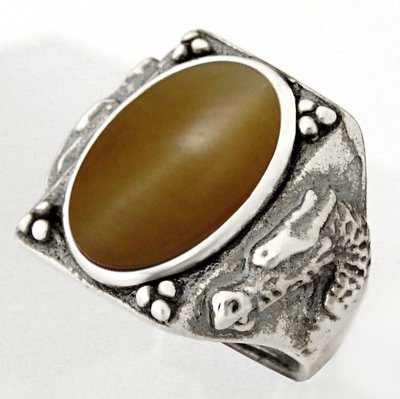 Heavy Weight Sterling Dragon Ring with Honey Tiger Eye Made in America Available in Size 8 to 12