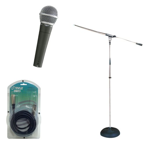 Pyle Mic And Stand Package - Pdmic58 Professional Moving Coil Dynamic Handheld Microphone - Pmks9 Heavy Duty Compact Base Boom Microphone Stand - Ppfmxlr15 15Ft. Xlr Male To Xlr Female Microphone Cable