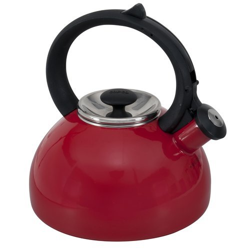 Rounded Shape Red Tea Kettle Porcelain Enamel Ergonomic Handle 2-Qt, Red