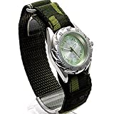 Boys/Teenagers Green Terrain Boardrider Sports Army Watch-Velcro Strap+Rotating Bezel-50m Water Resitant-1309b