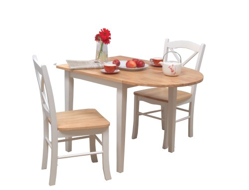 White And Natural  Piece Kitchen Square Table Set