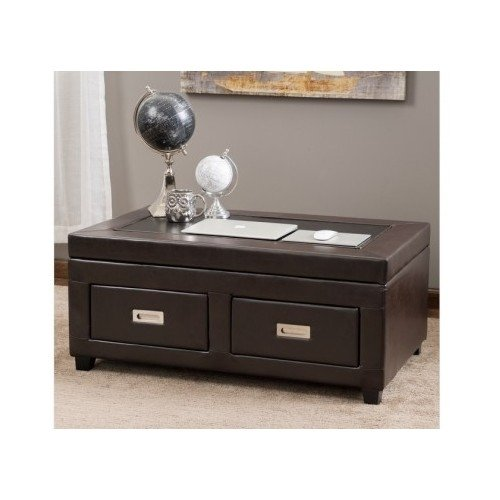 Lift Top Coffee Table Black Espresso with Drawers Leather Cocktail Storage (Espresso Lift Top Table compare prices)