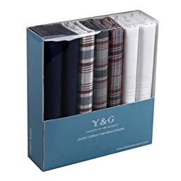 Discount Gift Idea 7 Pack Hankies Mens Cotton With Presentation Box MH1029 One Size Blue