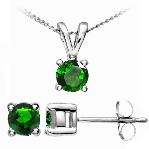 Stunning 9 ct White Gold Ladies Solitaire Earrings + Pendant with Chrome Diopside 0.72 Carat - 45cm*9mm*5mm