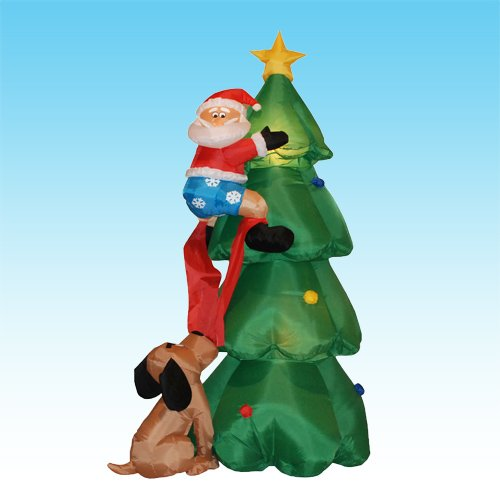 6 Foot Inflatable Christmas Santa Claus Climbing on Christmas Tree Chased by Dog