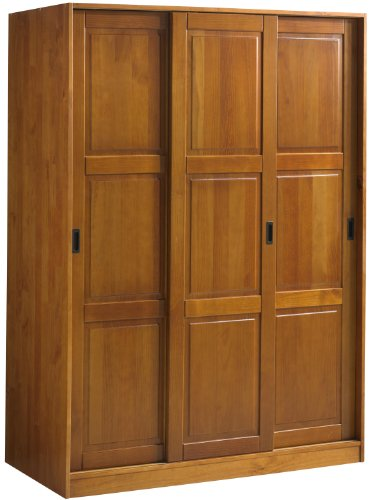 "Buy Wardrobe with 3 Sliding Raised Panel Doors, Honey Pine, 52""w x 72""h x 22.5""d, 5 S..."