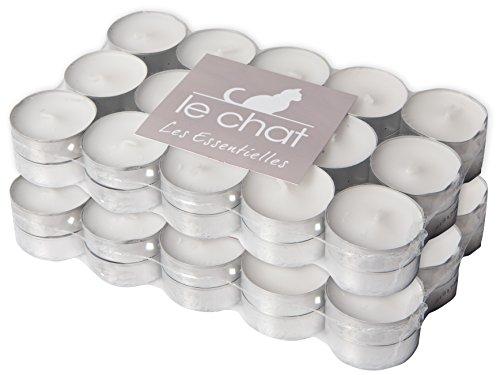 le-chat-1201204-lot-de-2-packs-de-30-bougies-chauffe-plats-blancs