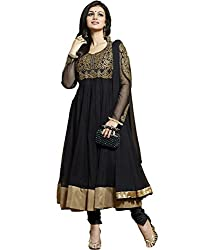 Tellywoodstyle Women's Georgette Unstitched Dress Material (aaysha 06_Black_Free Size)