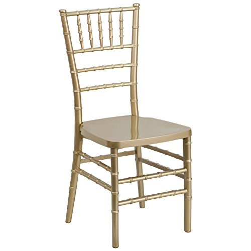 Flash Furniture Hercules PREMIUM Series Resin Stacking Chiavari Chair, Gold
