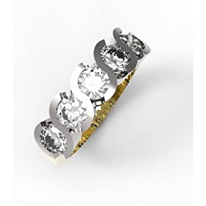 Infinity Jewellery 2.50ct Half Eternity Diamond Ring with Round Brilliant Cut Diamonds H/SI1 in 18ct yellow gold - S