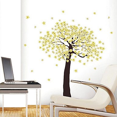 Zcl1Pcs Colorful Removable Yellow Flower Tree Wall Sticker
