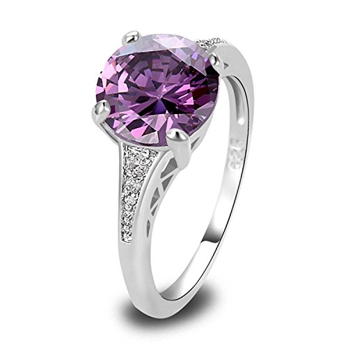 Psiroy 925 Sterling Silver Grace Womens Band Charms Gorgeous 10mm*10mm Round Cut Amethyst CZ Filled Ring