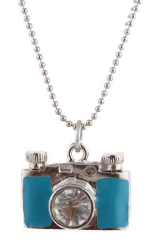 Girls Silver with Light Blue Stoned Camera Lens Style Pendant with 18.5 Inch Adjustable Beaded Chain Necklace