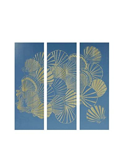 Three Panel Wood Carving Shell Motif, Blue/Natural Wood Tones