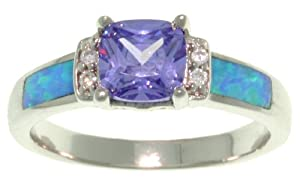 CGC Sterling Silver Created Blue Opal and Clear and Purple Cubic Zirconia Cushion Cut Ring Size 5