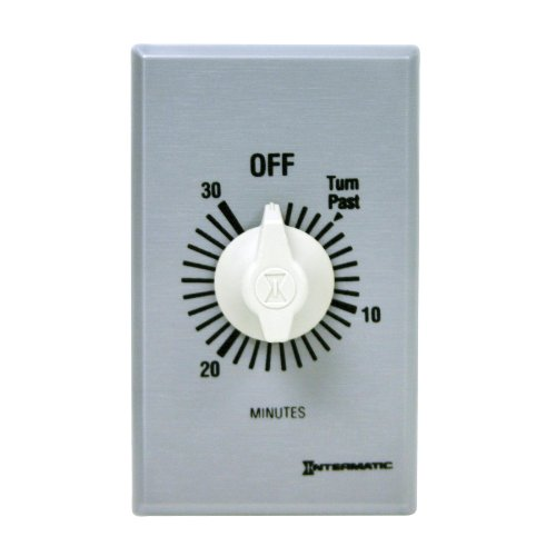 Intermatic Ff430M 2 Pole Spring Loaded Commercial Wall Timer With Auto Shut-Off, Brushed Metal