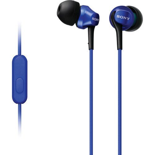 Sony Premium In-Ear Ex Series Earbud Headphones With In-Line Ios Remote & Mic For Volume And Track Control & Hands-Free Talking Compatable With Android Phones, 9 Mm High Sensitivity Driver Units, Tangle Free Cord, 5 - 24,000 Hz Frequency Response