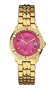 GUESS Women's U0148L4 Sporty and Classic Mid-Size Gold-Tone Watch with Pink Dial and Date Function
