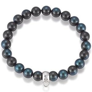 gooix GXC215 Charm Damen Charms Armband Silber Muschelkernperle grau-blau 17 cm