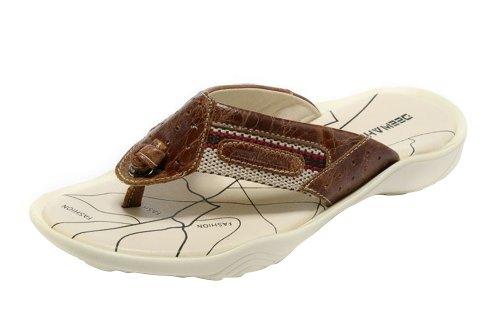 DEEWAHUA Men's Fashion Genuine Leather Summer Flip Flop Thong Sandals