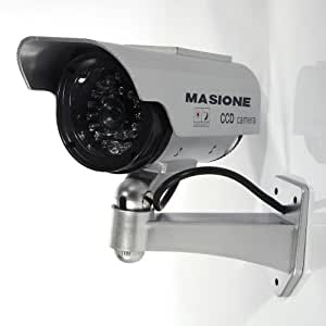 Masione&trade Fake Security Camera - Heavy Duty - Night Vision Look - Solar Power
