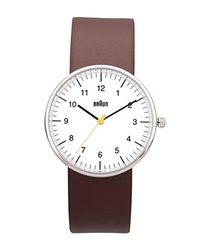 Braun BN0021WHBRG - Reloj de cuarzo unisex, correa de cuero color marrón