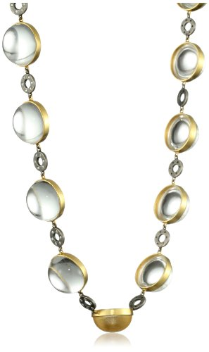 Lauren Harper Collection Mirage 18k Gold, Clear Crystal Quartz Cabachons and Diamond Necklace