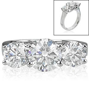 Three-Stone Round Diamond Ring (3.00 ctw) Platinum