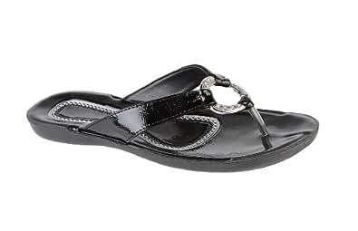 LORA DORA WOMENS SUMMER SANDALS TOE POST FLIP FLOPS FLAT LADIES HOLIDAY SLIP ON CASUAL SHOES UK BLACK SIZE 7