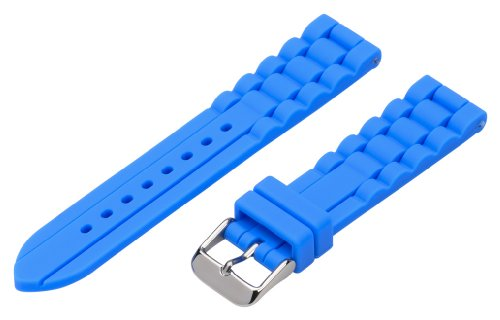 22Mm Premium 2 Piece Ss Silicone Solid Royal Blue Interchangeable Replacement Watch Band Strap