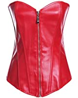 Lotsyle Women's Faux Leather Zipper Front Corset