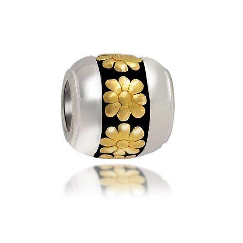 Bling Jewelry 925 Sterling Gold Vermeil Daisy Flower Barrel Bead Fits Pandora