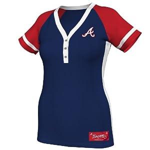 MLB Atlanta Braves Ladies Diamond Diva Fashion Top, Navy Red White by Majestic