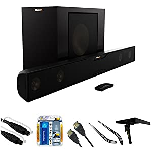 Klipsch Bluetooth Soundbar with Wireless Subwoofer (R-20B) with 6ft 5.0mm Audio Cable, TV/LCD Screen Cleaning Kit, HDMI Cable with Ethernet 6 ft, Soundbar Bracket & Stanley Media Shelf for TV 6